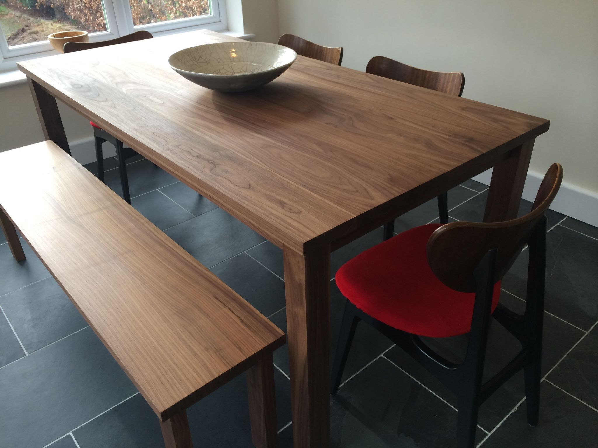 Solid American Black Walnut Dining Table And 2 Benches The Thixendale